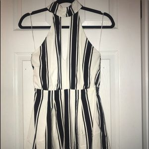 Black and white halter romper